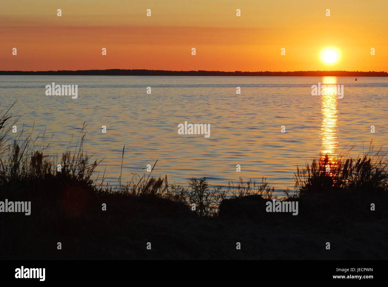 Die Ostsee, Sonnenuntergang, Norddeutschland, Deutschland, Ostsee, Meer, See, Wasser, Sonne, Überlegung, Abend, Stockbild