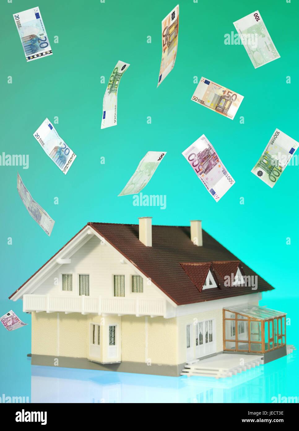 Hausmodell, Einfamilienhaus, monetäre Regen, Symbol, Bau ...