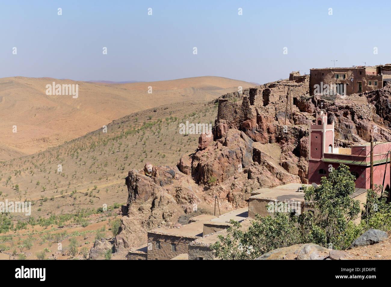 Bergdorf, Häuser, Moschee, Rock, Gaumenspalte, Anti-Atlas-Berge, Marokko, Afrika, Stockbild