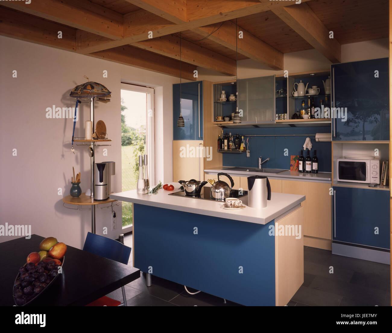Wohnhaus, Küche, moderne, live Sommer ordentlich, Ferienhaus ...