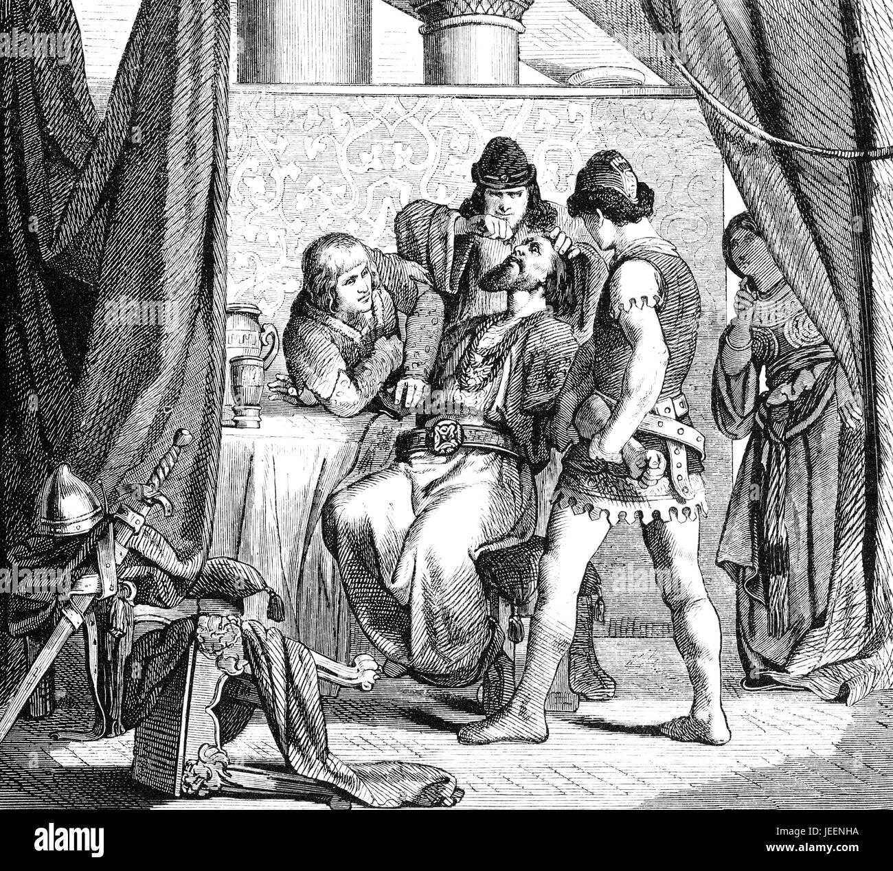 Adaloald, 602 ? 628, der Lombard König von Italien aus 616, 626, Poison trinken gezwungen Stockbild