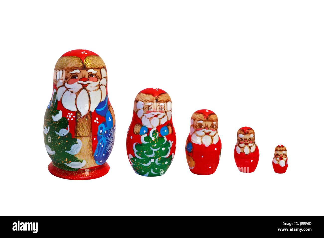 Um Weihnachten.Weihnachten Matrjoschka Puppen Eine Sammlung Von Russischen
