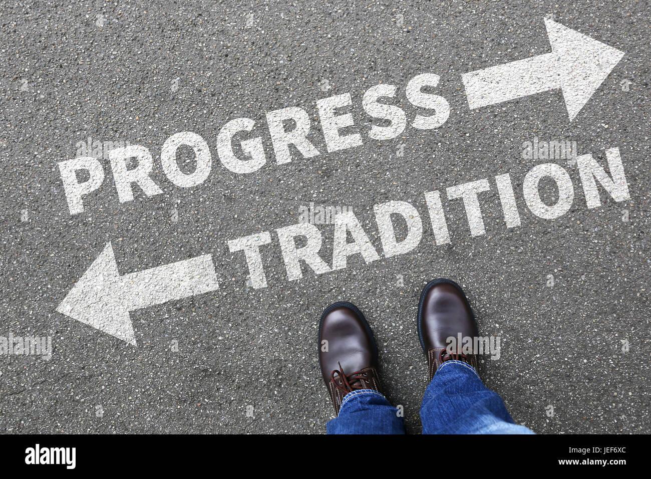 Tradition Fortschritt Zukunftsmanagement Bewertung Analyse Unternehmen Business Konzept Belohnung Stockbild