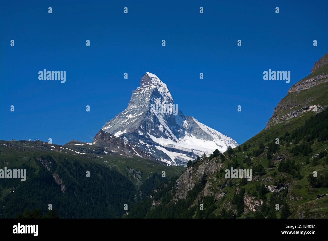 Das Matterhorn in der Schweiz ist einer der höchsten Berge der Alpen mit 4478 Meter Höhe, Das Matterhorn Stockbild
