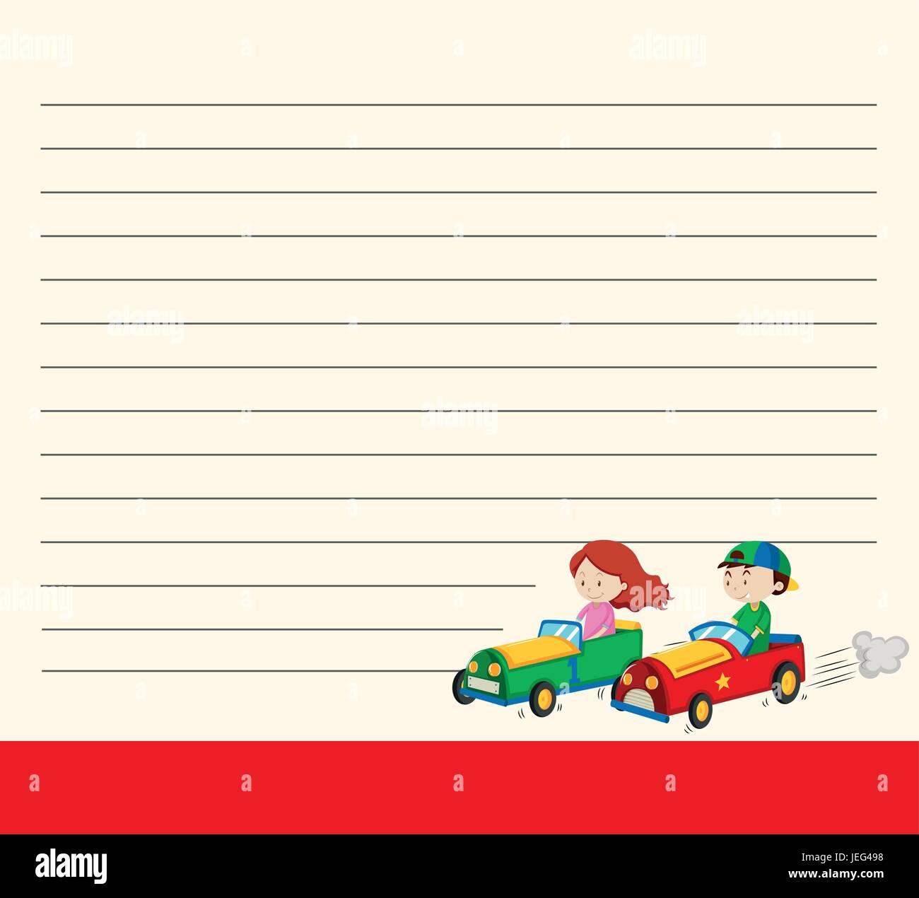 Linie Papier-Vorlage mit Kindern Renn-Autos Abbildung Vektor ...