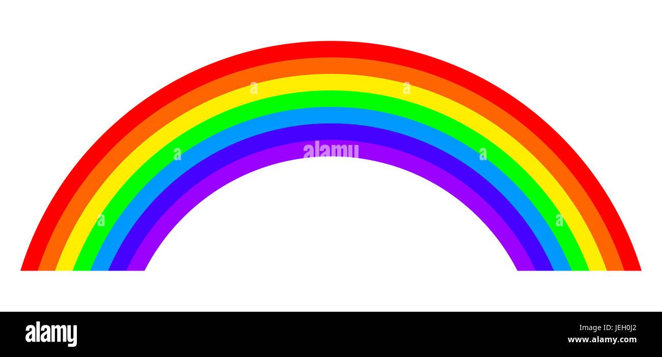 Sieben Farben Regenbogen Abbildung Auf Weißem Hintergrund Bogen Mit