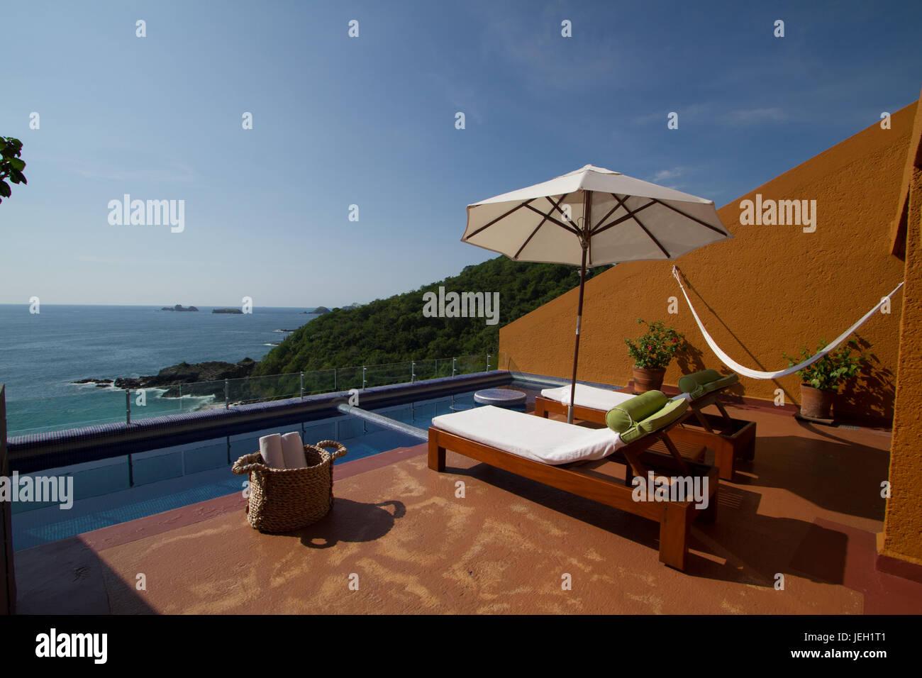 Luxus-Zimmer mit Solariumin Ixtapa Mexico Stockbild