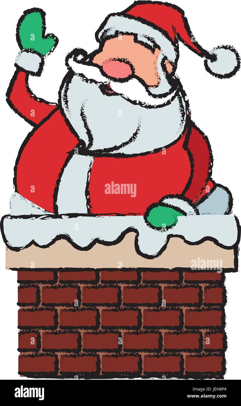 Weihnachtsfeier Cartoon.Cartoon Weihnachtsmann Für Ihre Weihnachtsfeier Im Schornstein