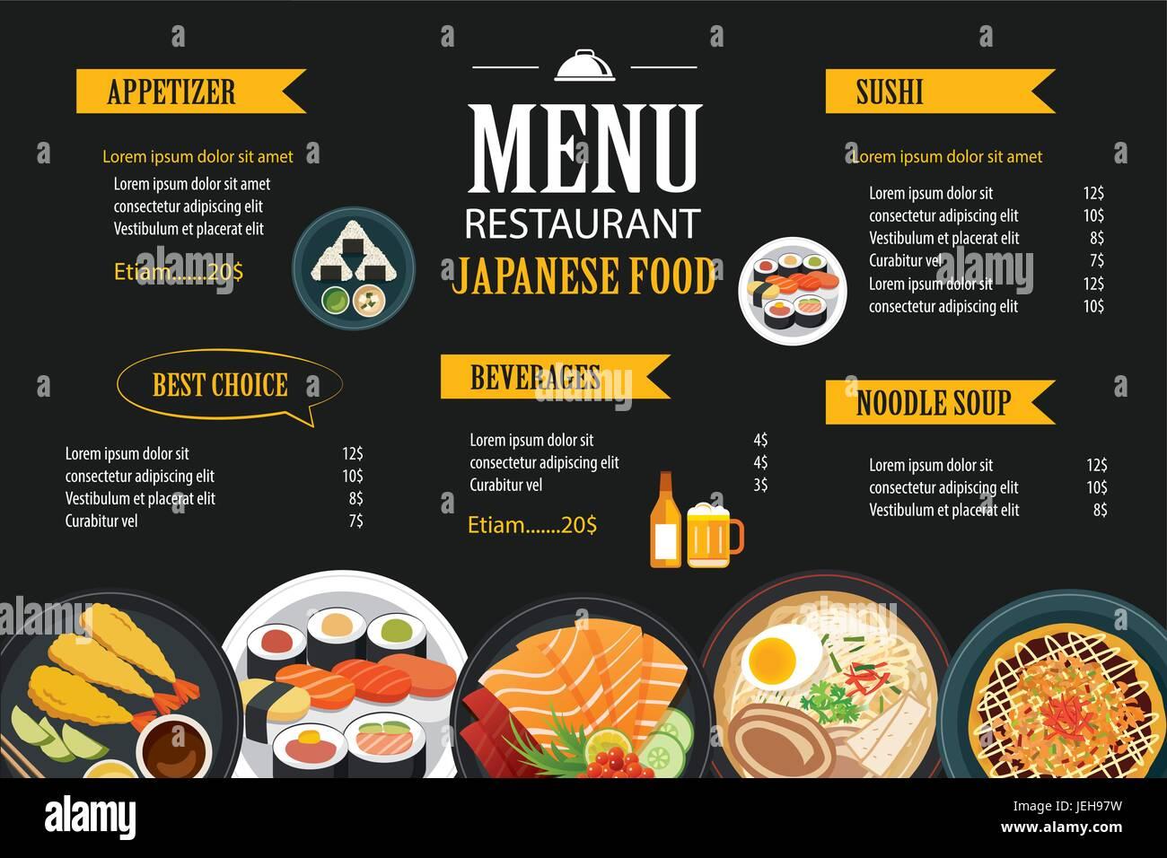 Japanisches Essen Menü Restaurant Broschüre Design-Vorlage Vektor ...