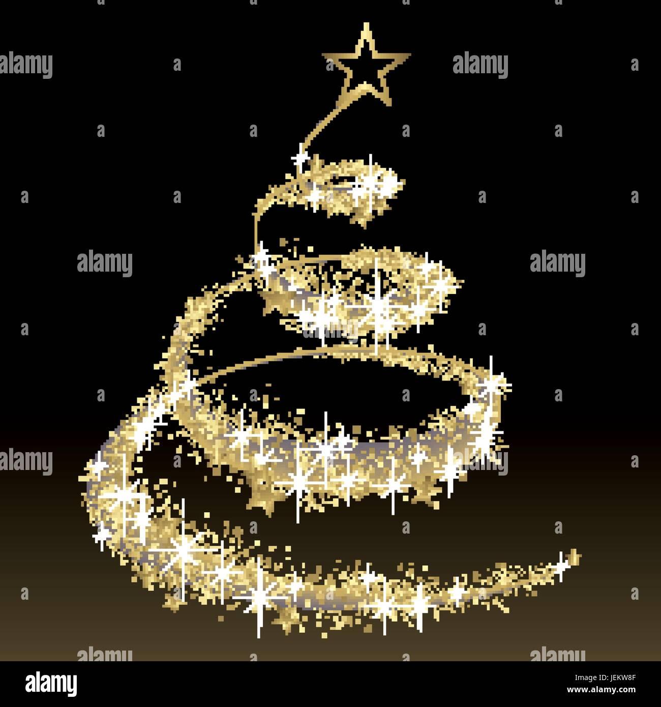 Weihnachtsbaum Schwarz.Schwarz Und Gold Vektor Weihnachtsbaum Mit Glitter Vektor Abbildung