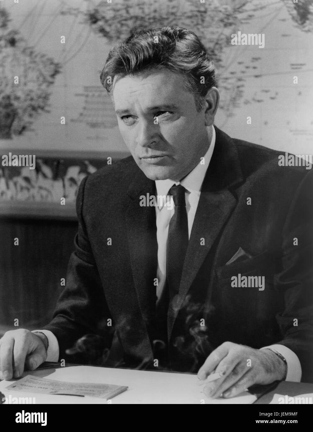 "Richard Burton, am Set des britischen Films, ""The V.I.P"" (aka Hotel International), Metro-Goldwyn-Mayer, Stockbild"