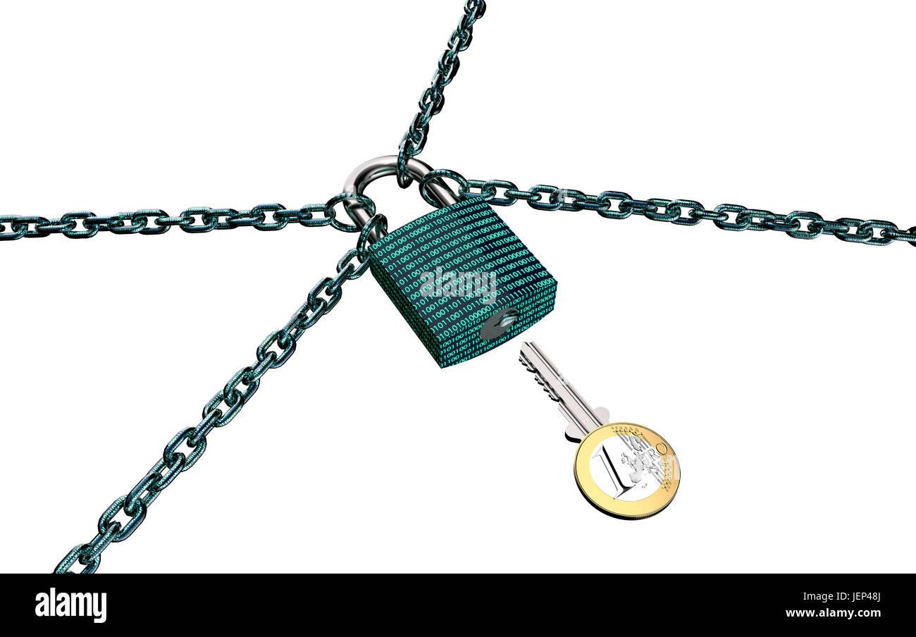Malware oder Ransomware Angriffe Konzept Vorhängeschloss mit Geld, Beschneidungspfad, 3d illustration Stockbild