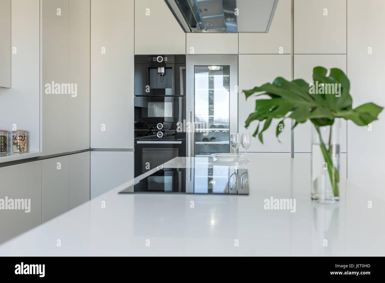Moderne Küche mit hellen Wänden. Es ist eine weiße Tischplatte mit ...