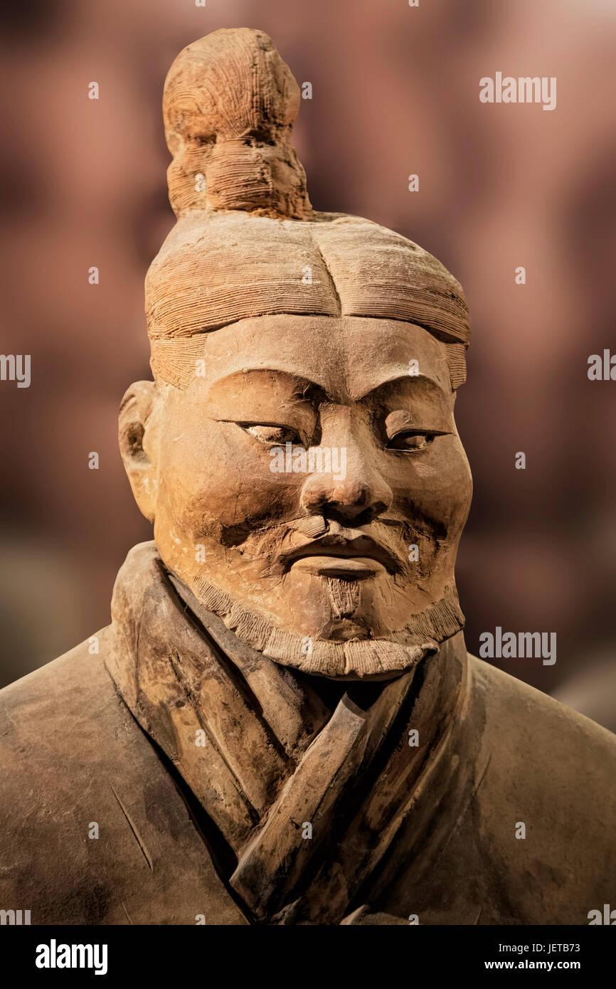 Die Terrakotta-Armee-Ausstellung auf dem Display an der Shaanxi History Museum. Xian. China Stockbild