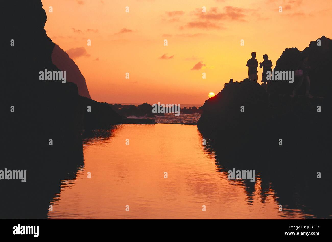 Portugal, Insel Madeira, Porto Moniz, Küste, Natur-Schwimmbad, Abend, die Stimmung, des Atlantiks, Galle Küste, Stockbild