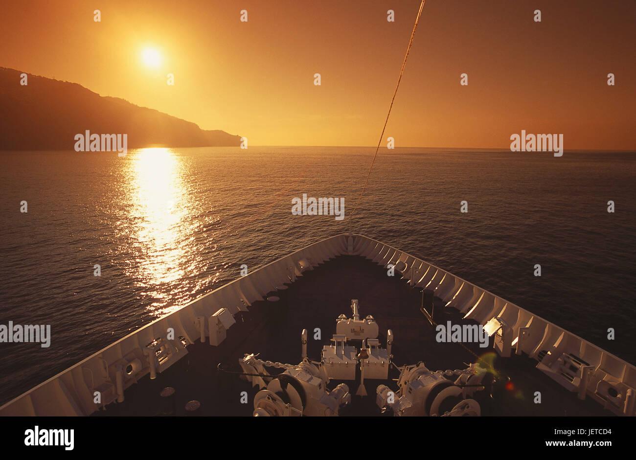 Portugal, Insel Porto Santo, Atlantik, Schiff, Detail, Fehler, Sonnenuntergang, Meer, Schiff Bug, Navigation, Kreuzfahrt, Stockbild