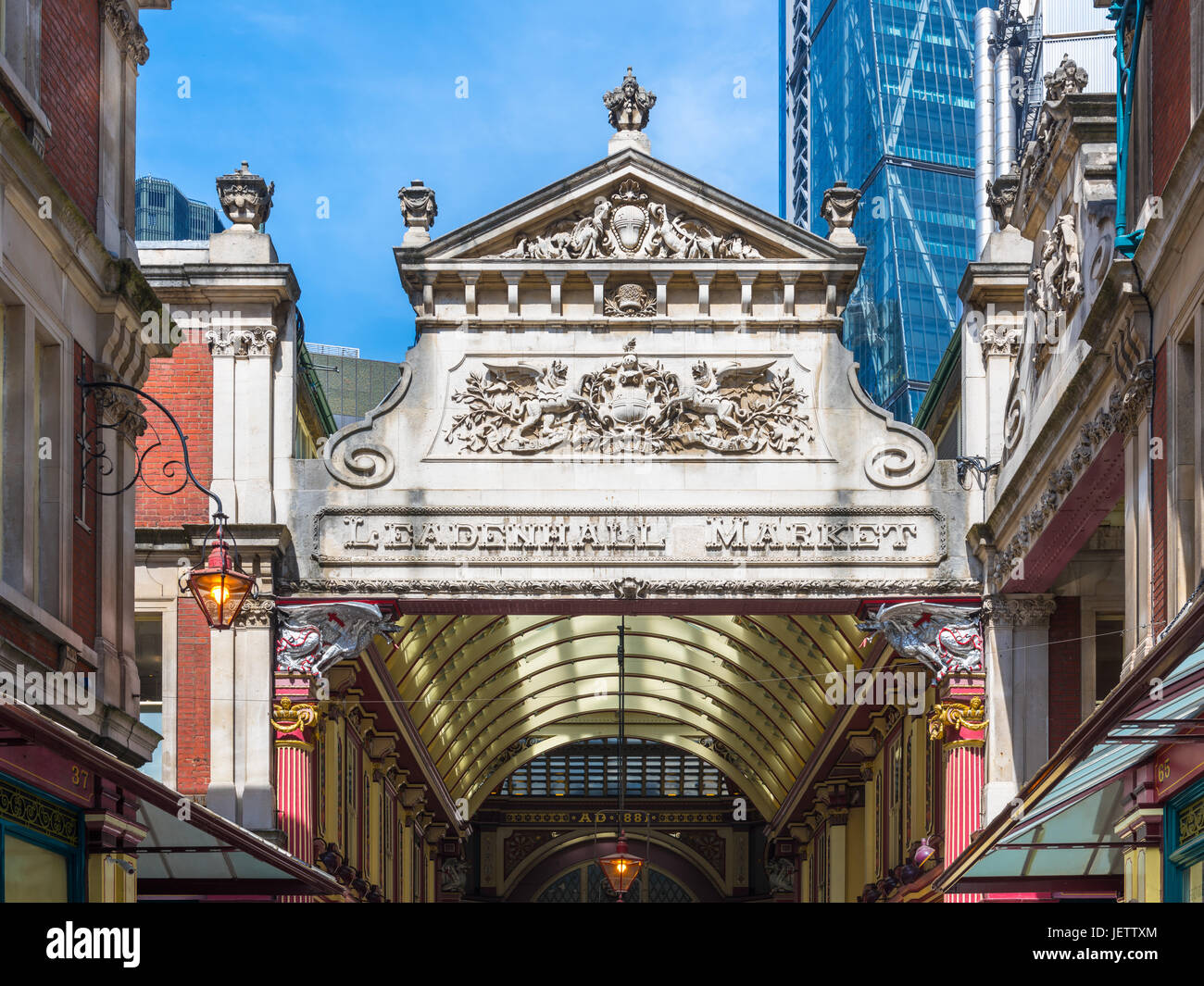 Nordeingang, Leadenhall Market, London, UK Stockbild