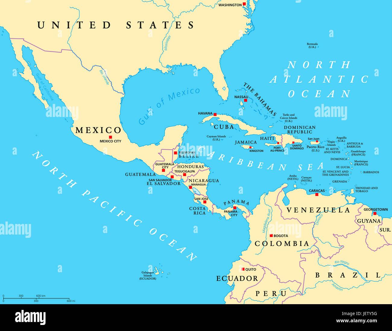 Physische Karte Lateinamerika.Zentralamerika Karte Stockfotos Zentralamerika Karte