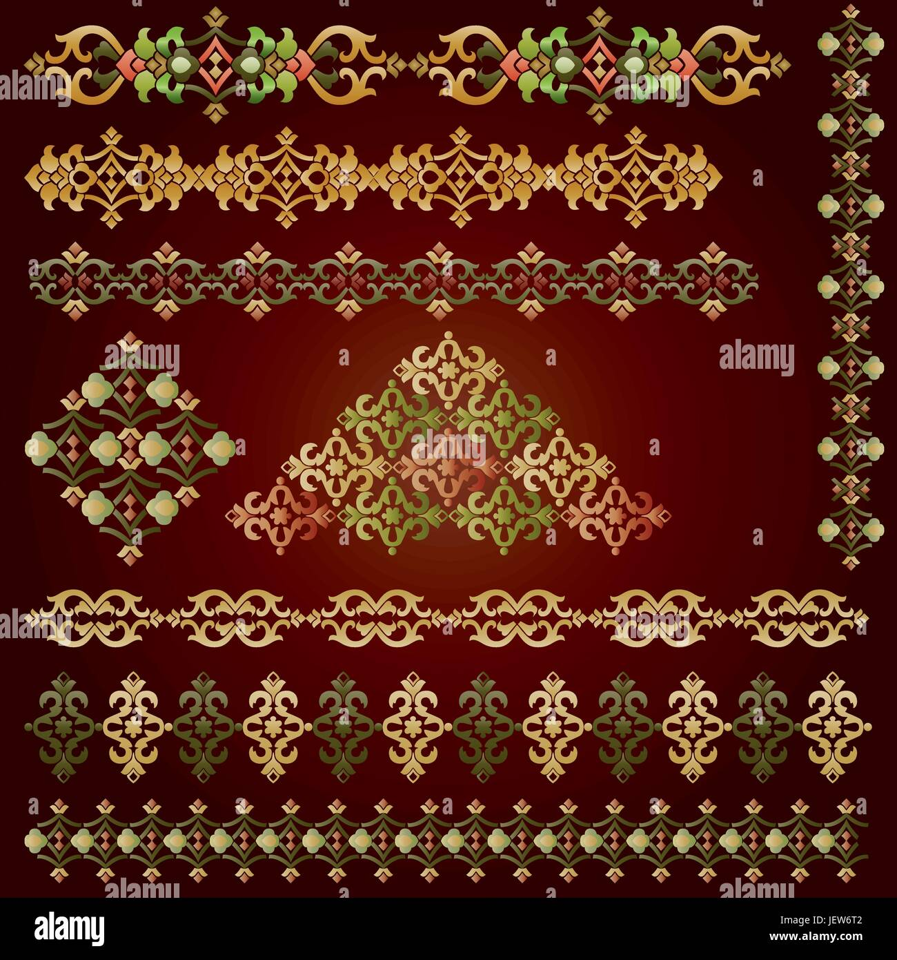 Antik, Vintage, islamische, Muster, Satz, Rahmen, Grenze, Rahmen ...