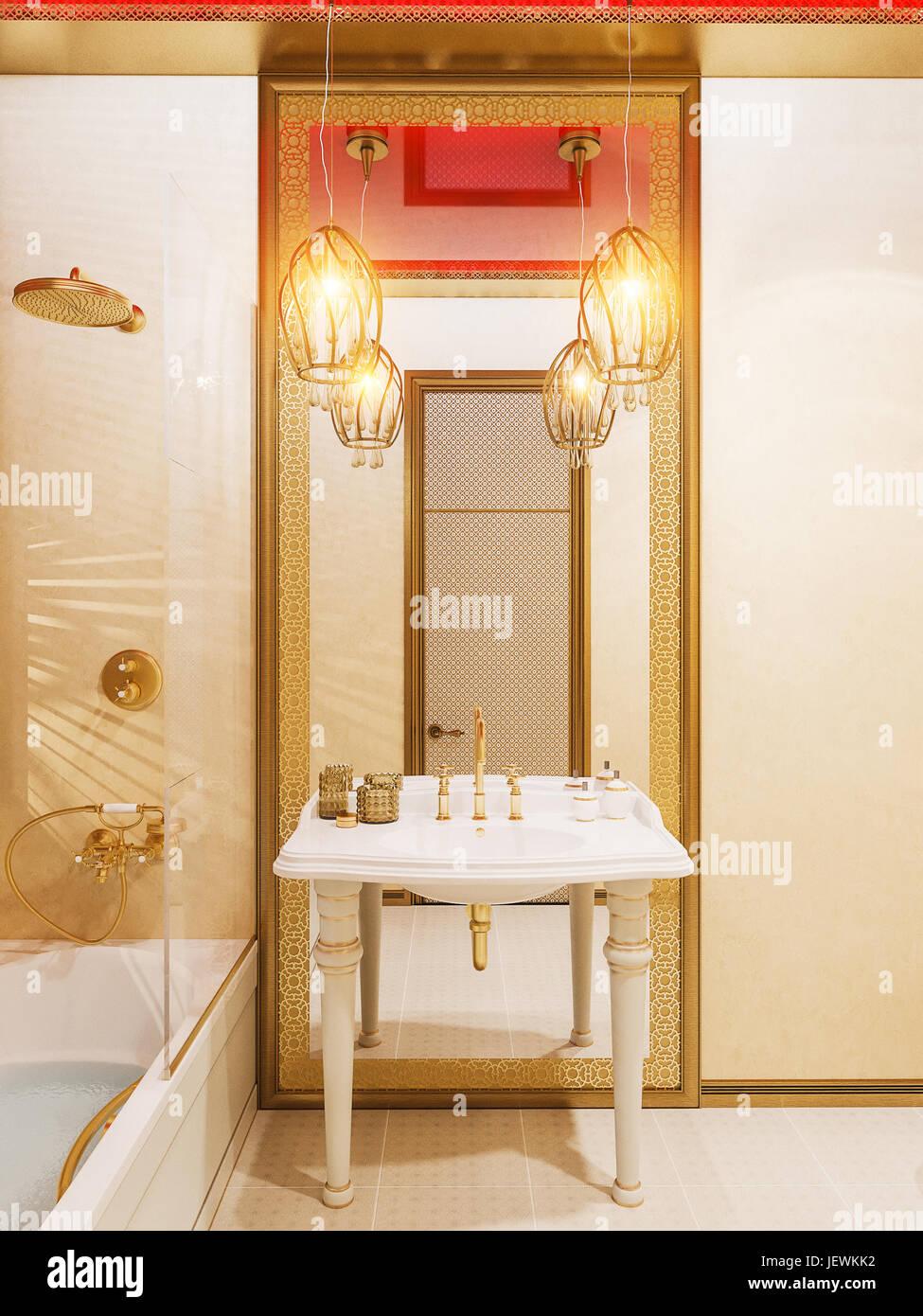 3D Illustration, Raumgestaltung Bad eines Hotelzimmers im ...