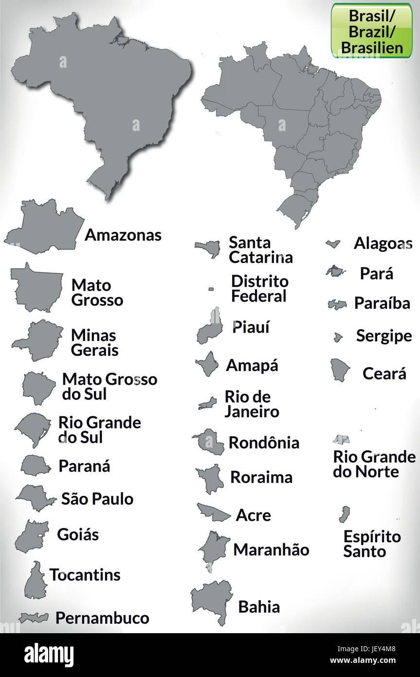 Brasilien Karte Welt.Brasilien Karte Gliederung Verwaltung Grenzen Staat Atlas