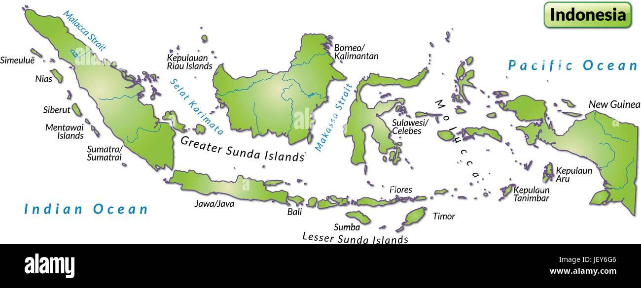 Indonesien Gliederung Grenzen Atlas Karte Weltkarte