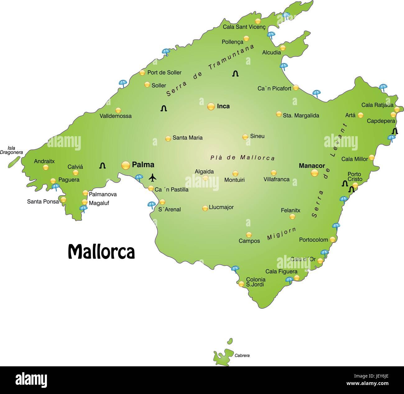 Mallorca Karte Umriss.Mallorca Gliederung Grenzen Atlas Karte Karte Der Welt