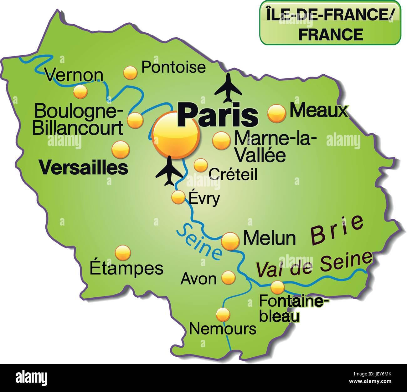 Karte Von Ile De France Als Eine Ubersichtskarte In Grun Stock Vektorgrafik Alamy