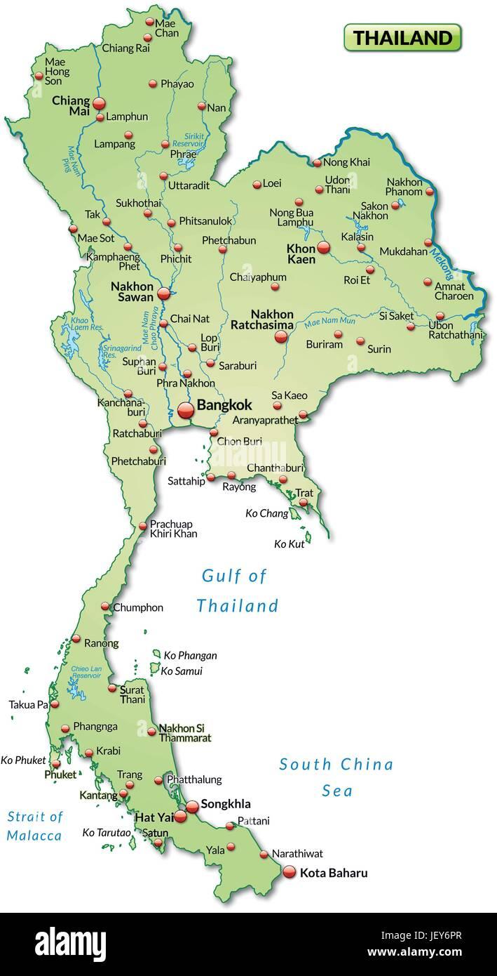 Thailand Karte Welt.Thailand Gliederung Grenzen Atlas Karte Karte Der Welt Karte