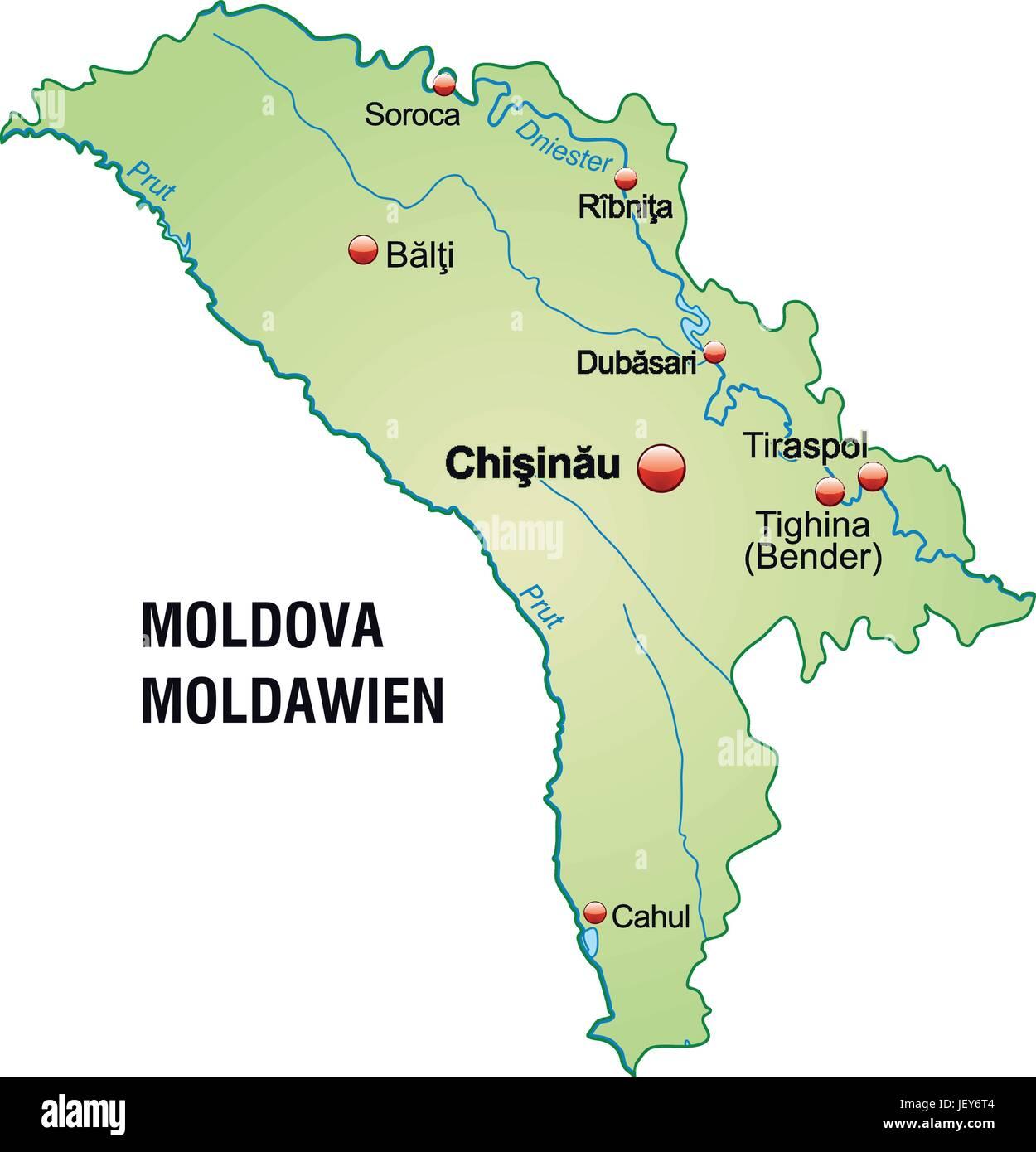 Moldawien Karte.Karte Von Moldawien Als Eine übersichtskarte In Pastellgrün Vektor