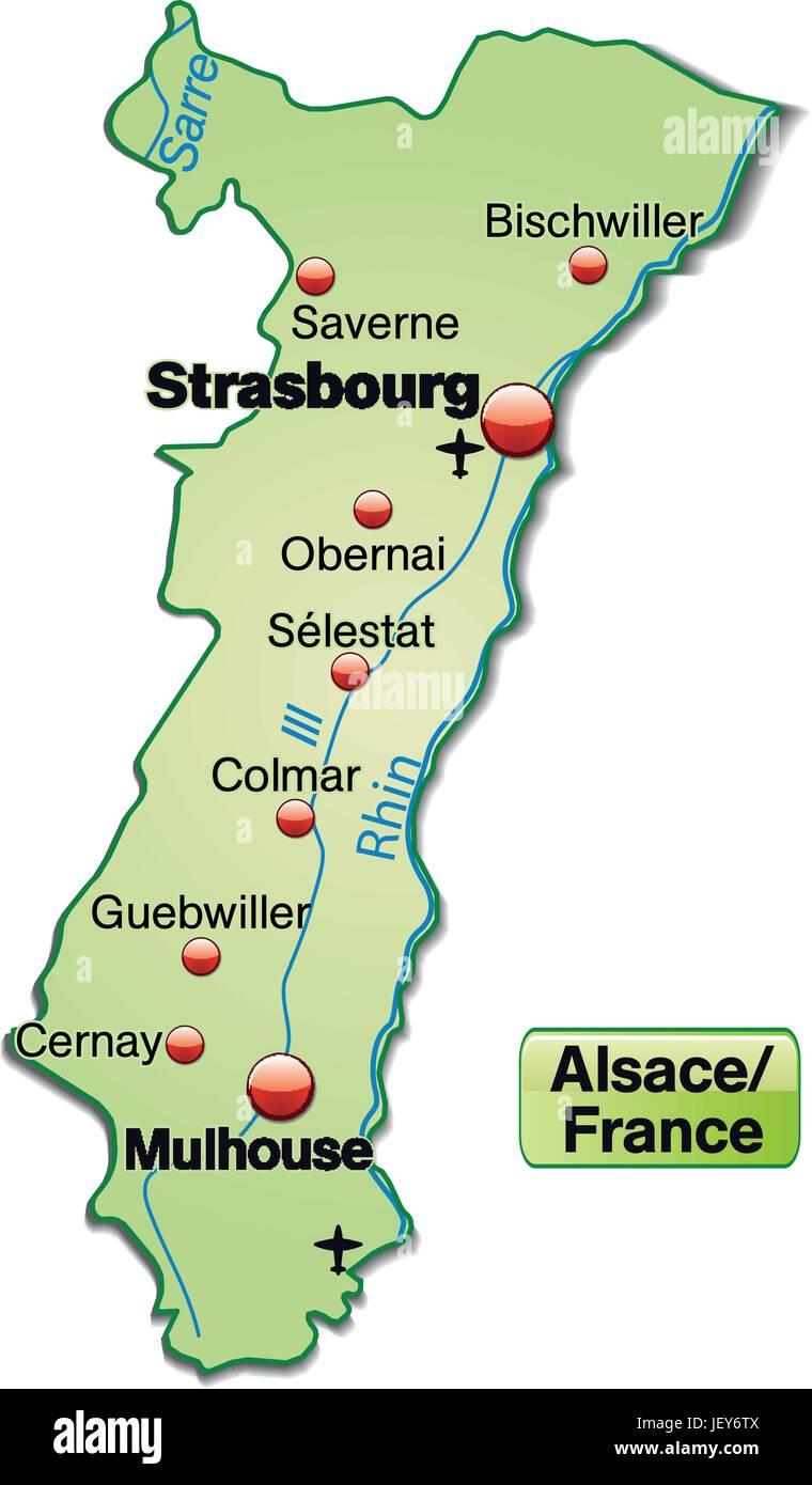 Elsass Karte.Alsace Map Stockfotos Alsace Map Bilder Alamy