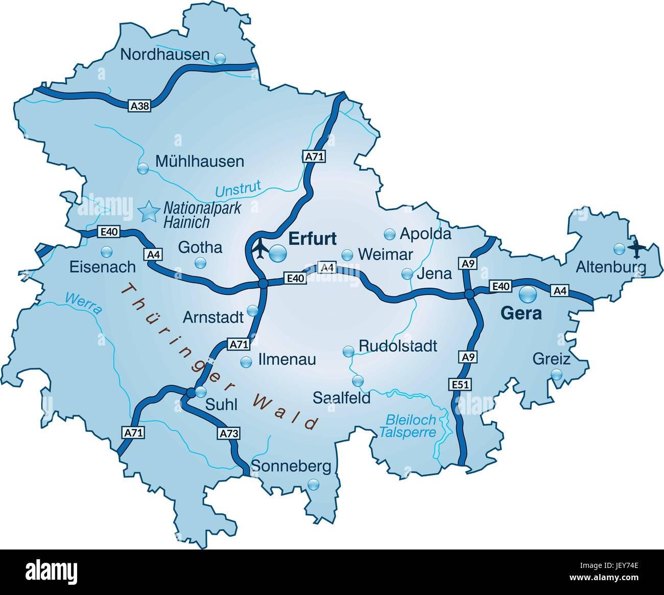 Karte Thüringen.Karte Von Thüringen Mit Verkehrsnetz In Blau Vektor Abbildung Bild