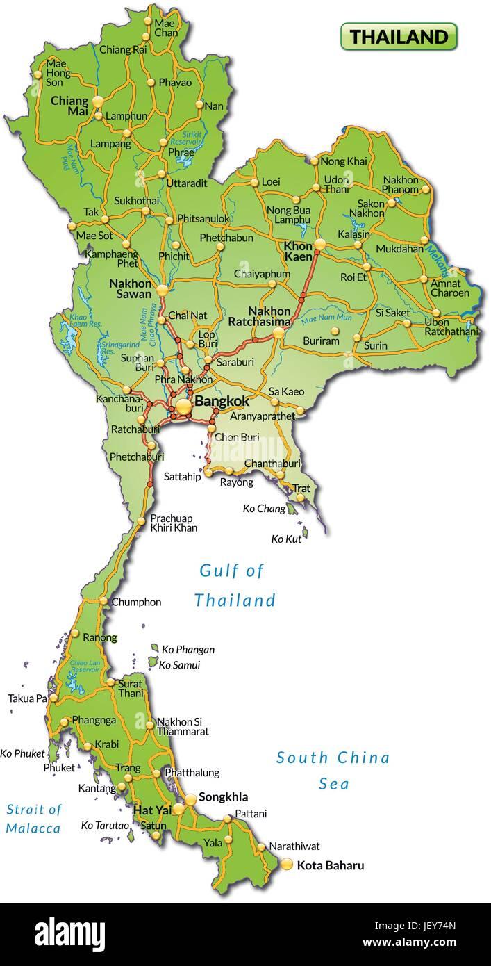 Thailand Inseln Karte.Karte Der Insel Von Thailand Mit Verkehrsnetz In Bunt Vektor