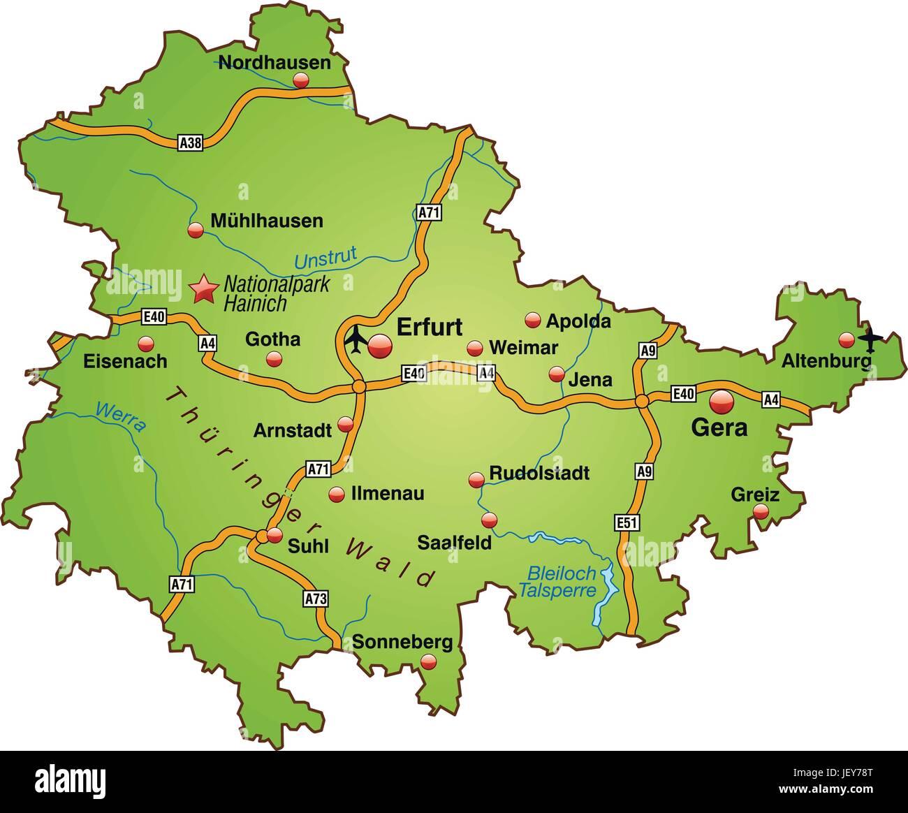 karte thüringen Karte Thüringen Vektor Abbildung   Bild: 146886568   Alamy