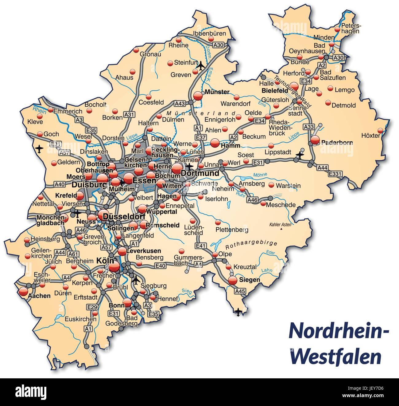 Nordrhein Westfalen Karte.Karte Von Nordrhein Westfalen Mit Verkehrsnetz In Pastell