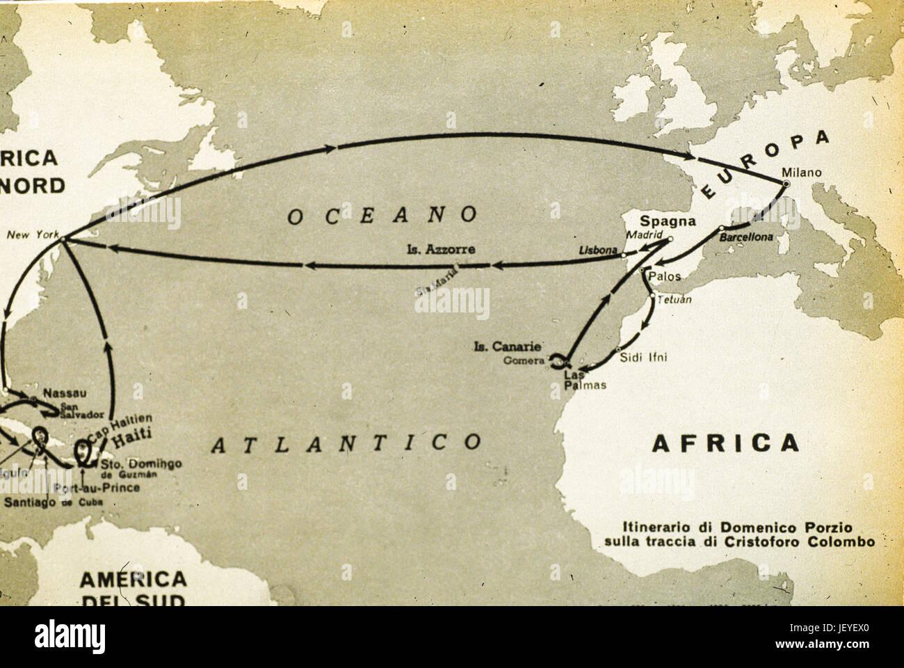 Route der ersten Reise von Christopher Columbus 1492 ...