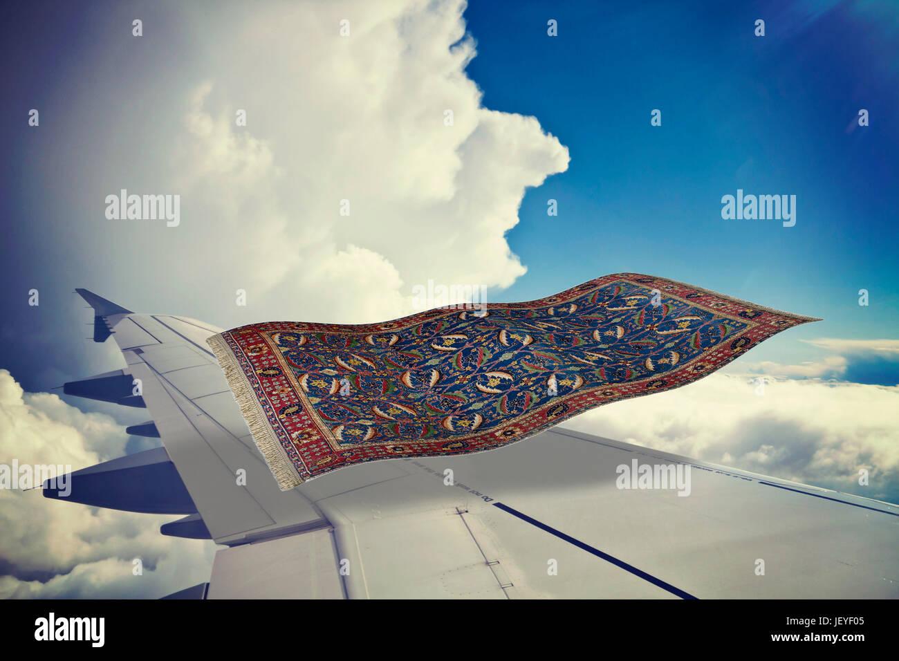 surrealistischer fliegender teppich fliegt ber ein flugzeug in den blauen himmel partielles 3d. Black Bedroom Furniture Sets. Home Design Ideas
