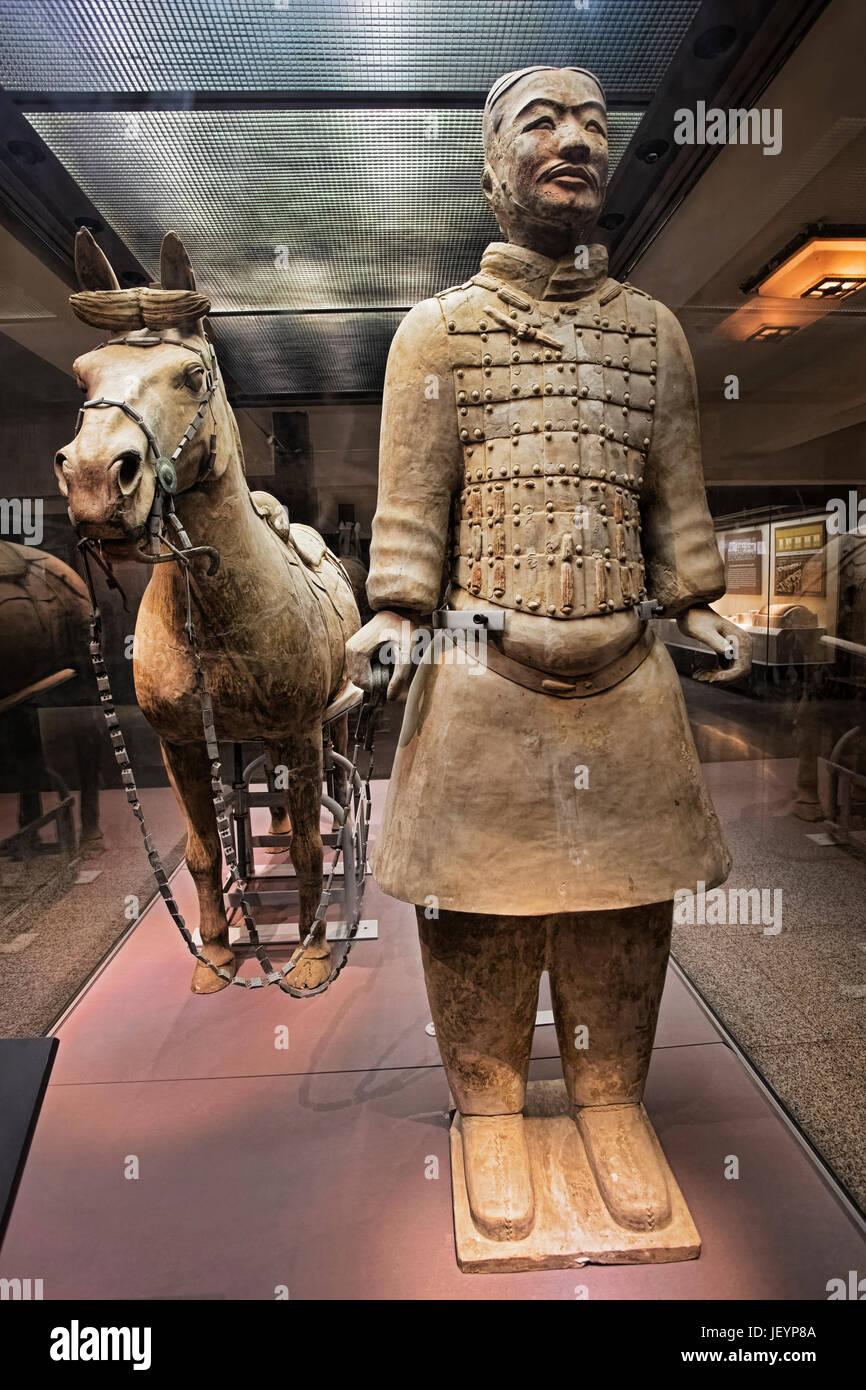 Die Welt befindet sich berühmten Terrakotta-Armee, Teil des Mausoleums des ersten Qin-Kaisers und ein UNESCO Stockbild