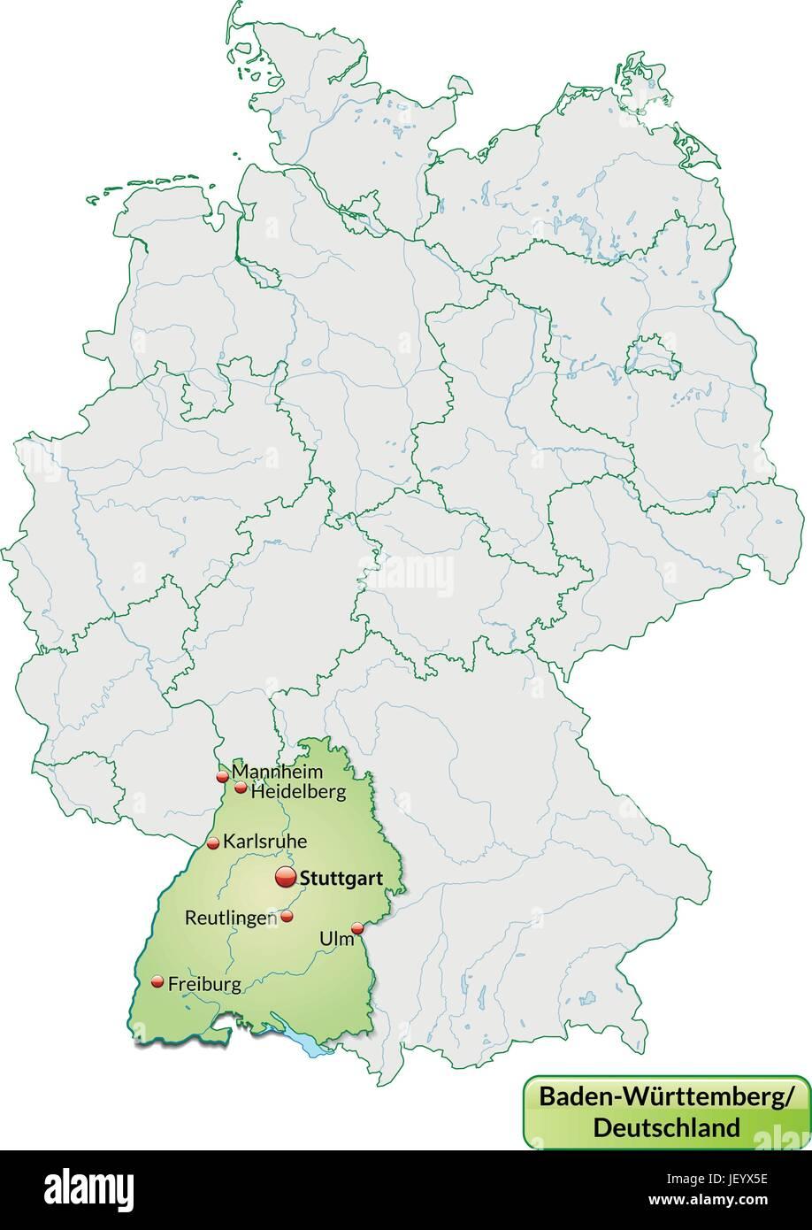 Karte Von Baden Wurttemberg Mit Den Wichtigsten Stadten In