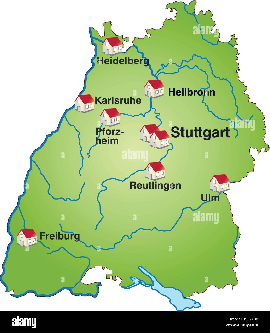 Baden Wurttemberg Karte Db.Karte Von Baden Wurttemberg Als Infografik In Grun Vektor