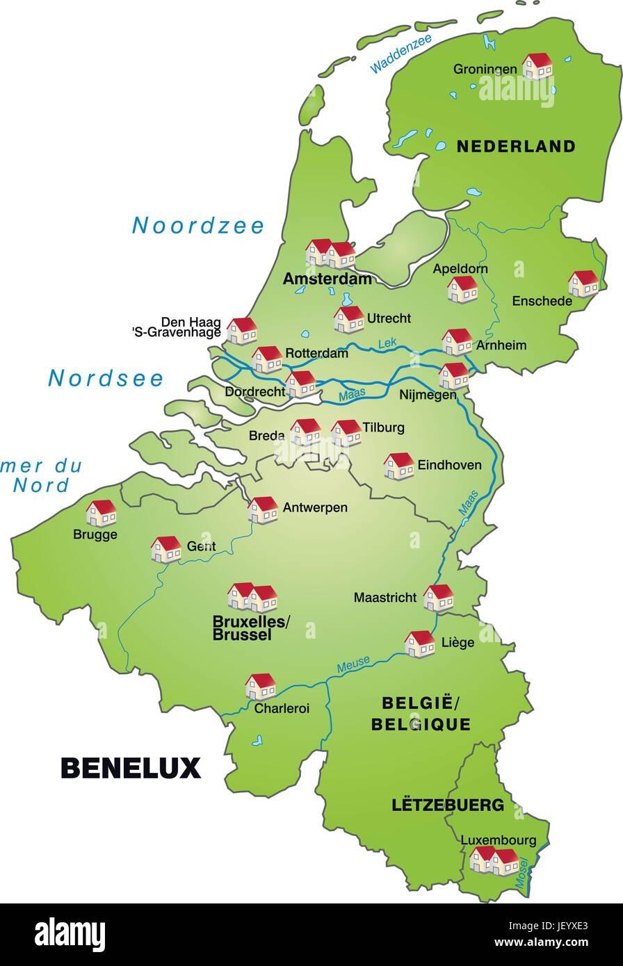 Karte Von Holland Und Belgien.Belgien Holland Benelux Karte Gliederung Grenzen