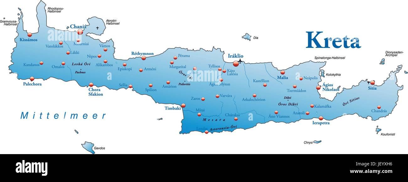 Karte Von Kreta Als Eine Ubersichtskarte In Blau Vektor Abbildung