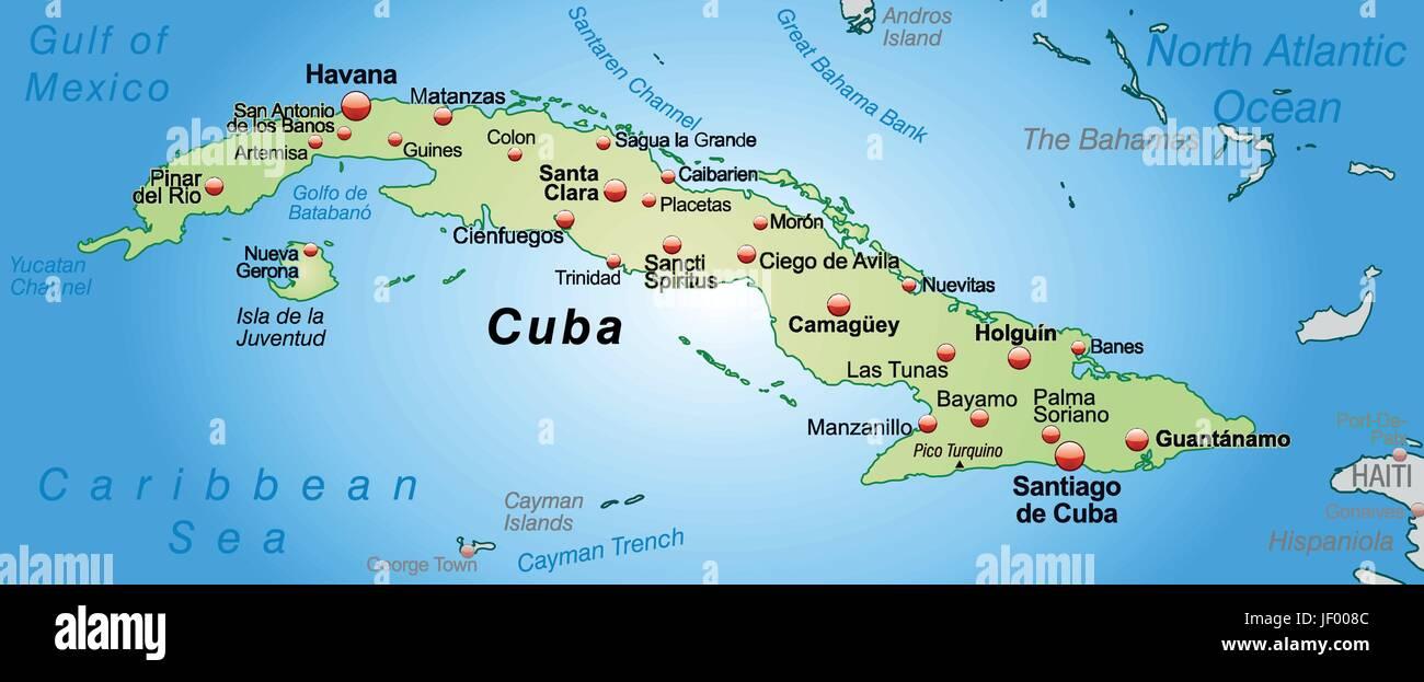 Karte Kuba.Karte Von Kuba Als Eine übersichtskarte In Pastellgrün Vektor