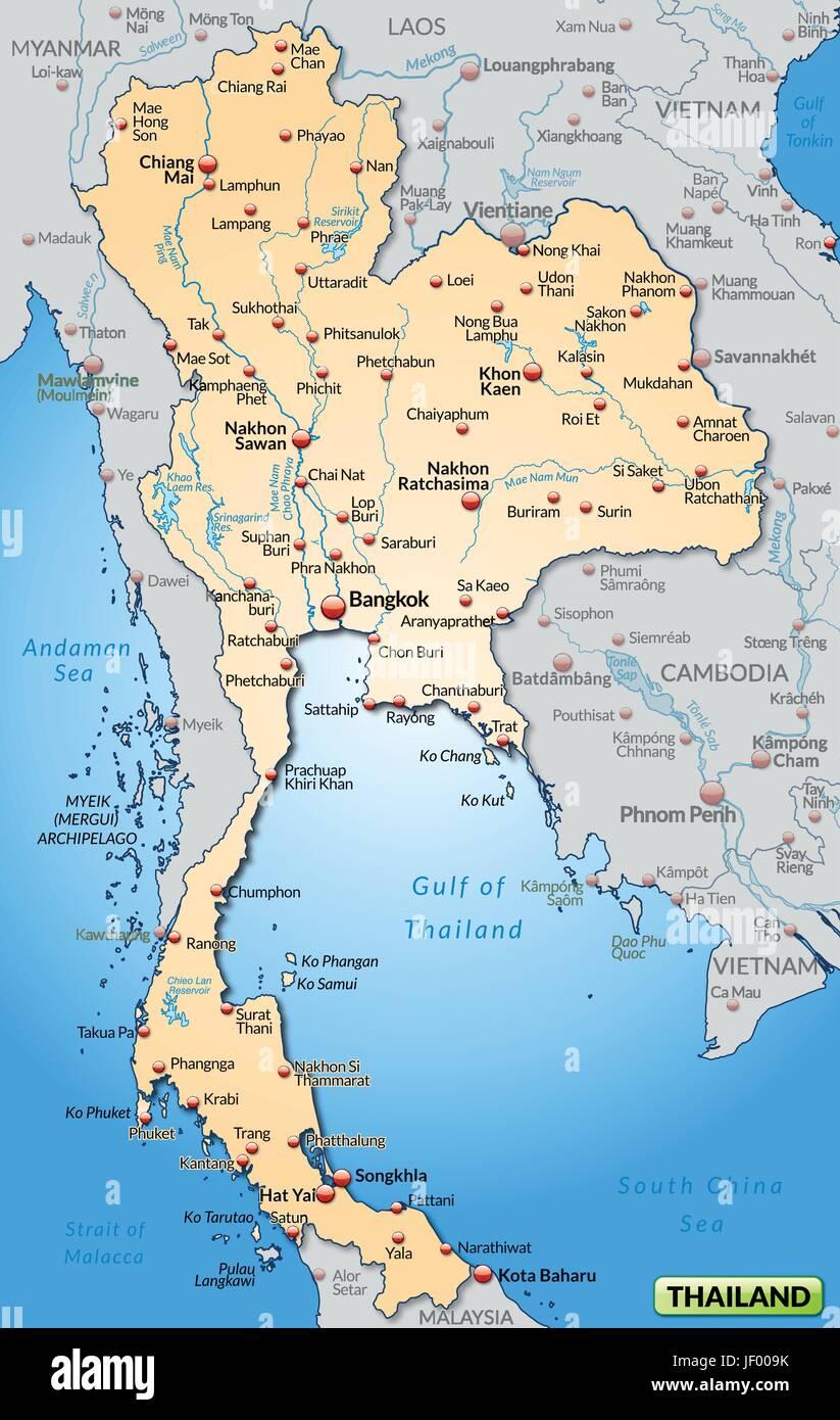 Thailand Grenze Karte Synopse Grenzen Atlas Weltkarte