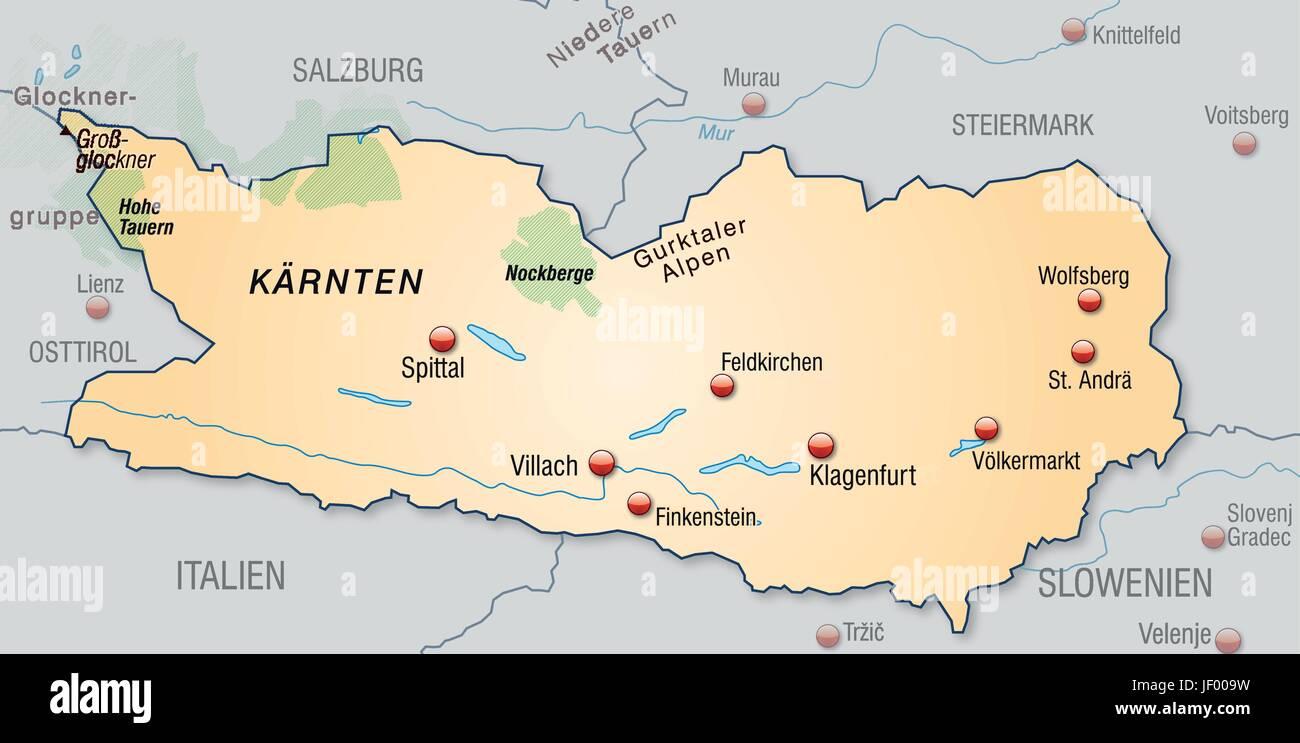 Karnten Grenze Karte Synopse Grenzen Kanton Kantone Atlas