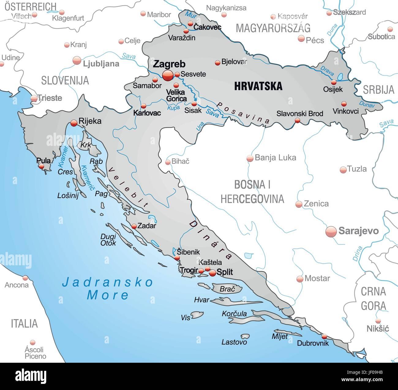 Istrien Karte Zum Ausdrucken.Croatia Map Stockfotos Croatia Map Bilder Seite 2 Alamy