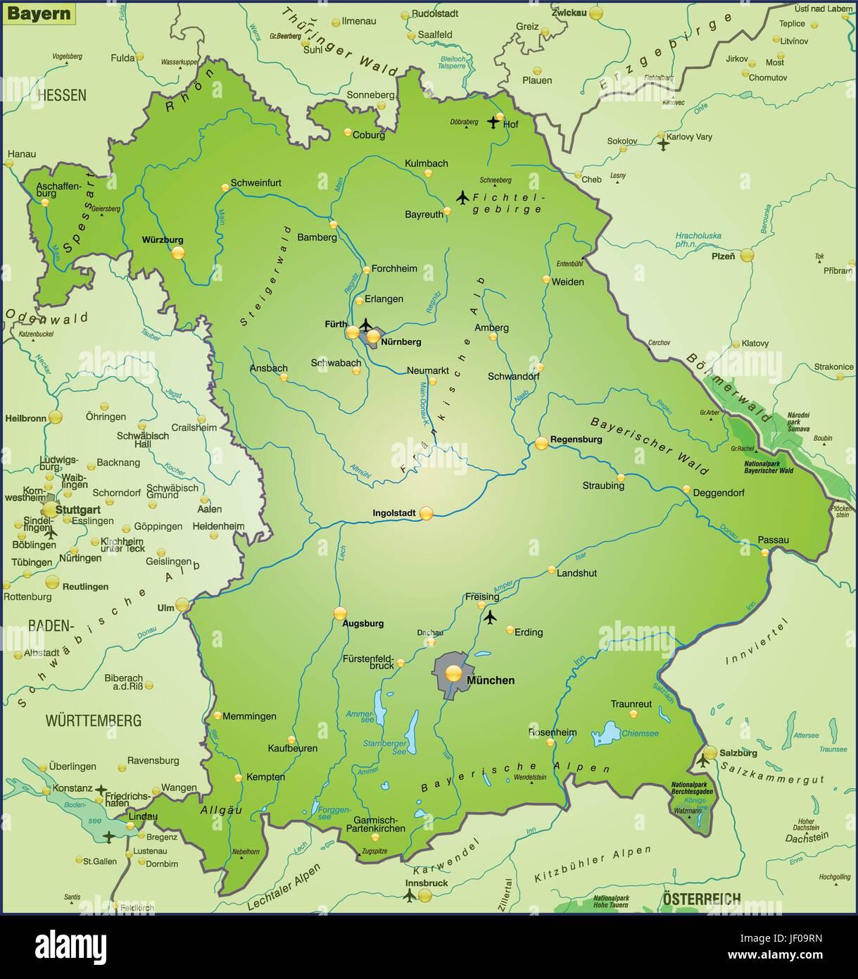 Karte Bayern.Karte Atlas Karte Der Welt Karte Bayern Karte Staat Atlas