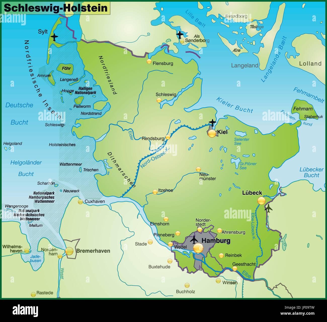 Schleswig Holstein Karte.Karte Des Landes Schleswig Holstein Als Eine übersichtskarte In Grün