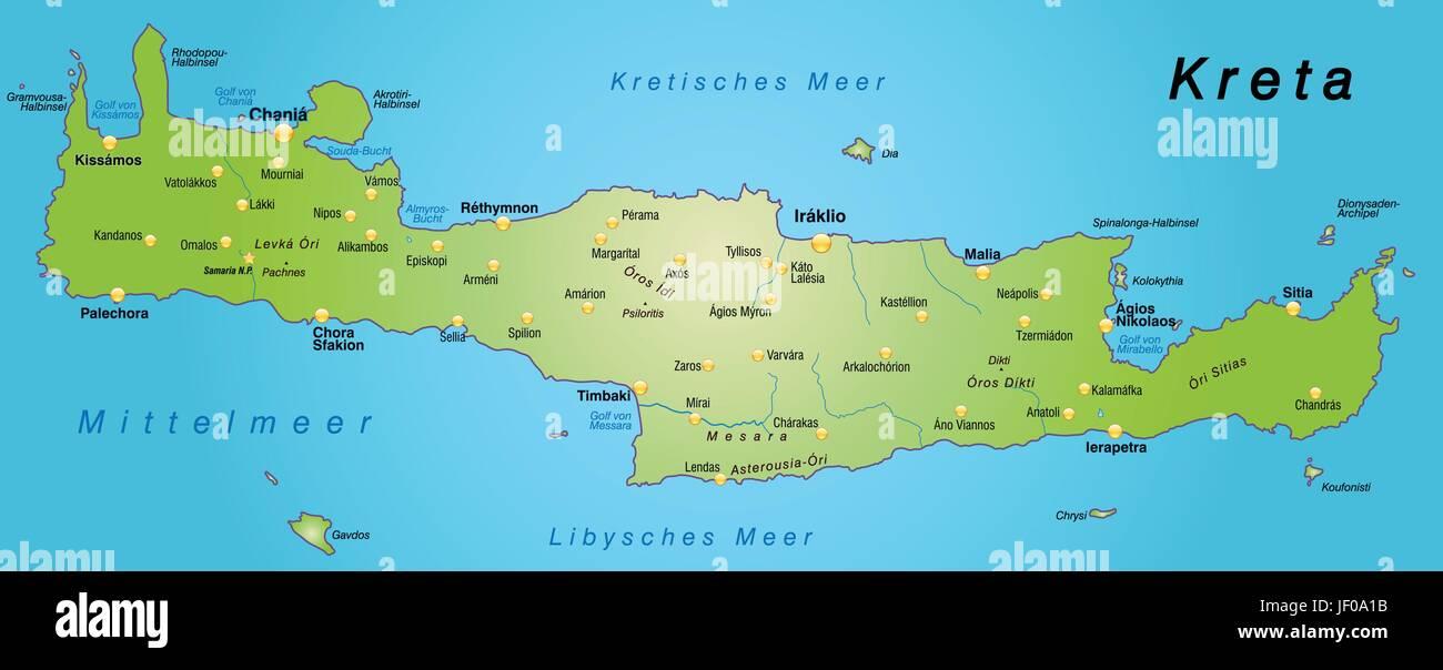 Karte Von Kreta Als Eine Ubersichtskarte In Grun Vektor Abbildung