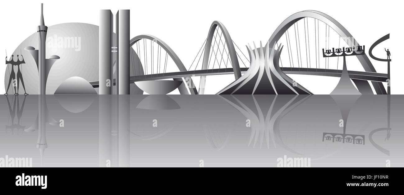 Modern, moderne, Skyline, Baustil, Architektur, Architektur Vektor ...